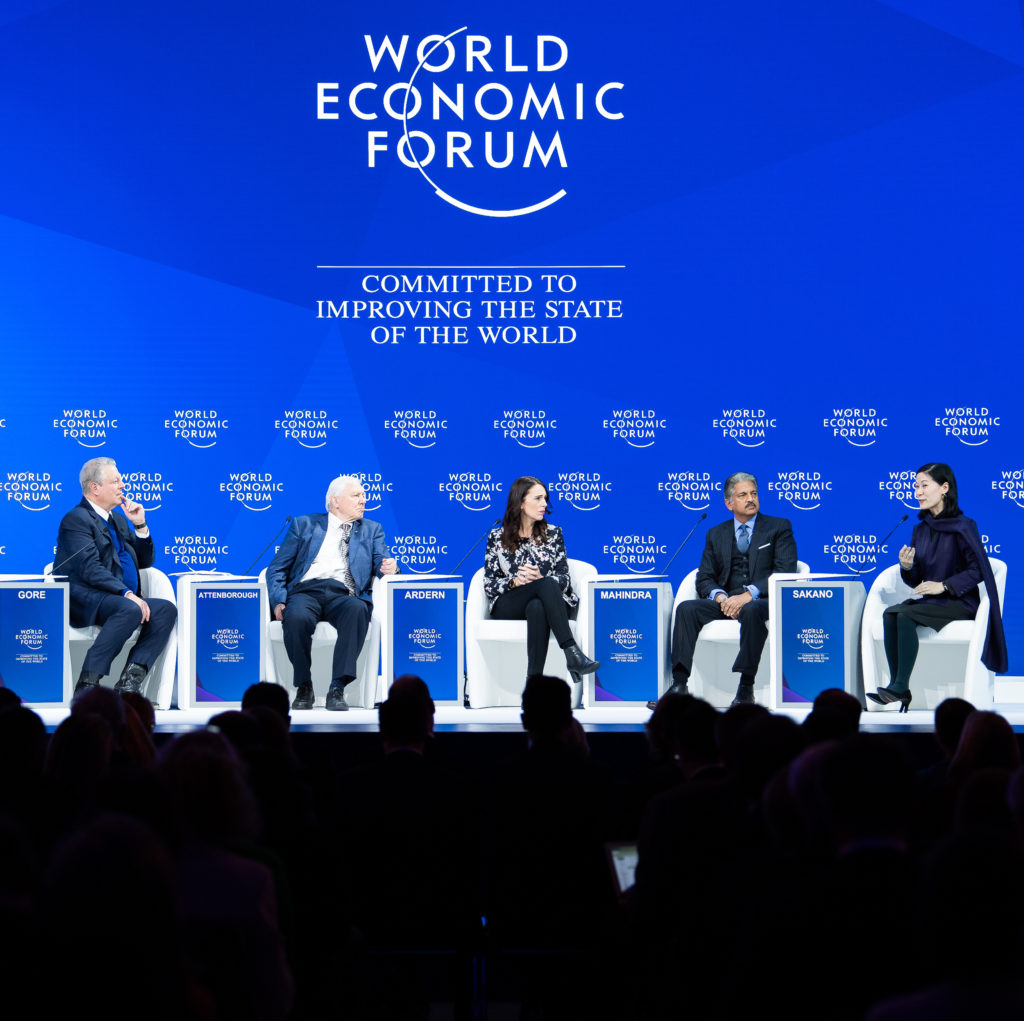 "Jacinda Ardern, Prime Minister of New Zealand; Young Global Leader, Sir David Attenborough, Broadcaster and Naturalist, David Attenborough, United Kingdom; Cultural Leader, Anand Mahindra, Chairman, Mahindra Group, India, Akira Sakano, Chair, Board of Directors, Zero Waste Academy Japan, Japan and Al Gore, Vice-President of the United States (1993-2001); Chairman and Co-Founder, Generation Investment Management, USA speaking during the Session ""Safeguarding Our Planet"" at the Annual Meeting 2019 of the World Economic Forum in Davos, January 22,  2019. Congress Centre, Congress Hall Copyright by World Economic Forum / Boris Baldinger"